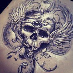 Skull tattoo sketch