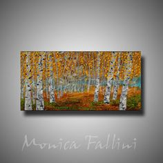 Paintings by Monica Fallini: Aspen birch tree original oil painting by contempo...