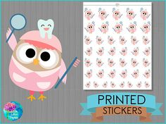Dentist Stickers - Cute Owl, planner stickers, diary, erin condren, happy planner, appointment, tracker, dentist, health, teeth