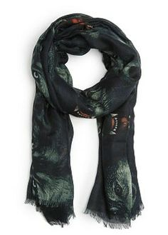 MANGO - Accessories - Foulards and Neck Scarves - Wolf print scarf