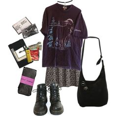 A fashion look from February 2016 featuring H&M dresses, Betsey Johnson tights and Dr. Browse and shop related looks. Hippie Outfits, Grunge Outfits, Mode Outfits, Retro Outfits, Casual Outfits, Fashion Outfits, 2000s Fashion, Fall Fashion, Style Fashion