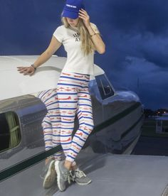Celebrate your love for american aviation with these red, white, and blue WWII airplane leggings. Spotted with iconic airplanes from WWII these leggings are perfect for your next airshow. Airplane Outfits, Striped Leggings, Air Show, Airplanes, Wwii, Red And White, What To Wear, Aviation, American