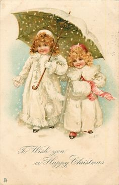 To Wish You a Happy Christmas ~ 2 girls under umbrella in snow