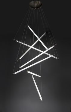 """#Ixion by #Quasar is a cascading series of linear LED tubes with a mix of clear and frosted glass diffusers. We love Quasar for the wild and ingenious designs - they didn' disppoint at """"Frankfurt 2014""""! Search the tag at eurolite.com for more on Quasar."""