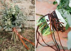 tie leather wedding bouquet deco idea leather bands brown