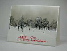 Gray sponged card using SU Lovely as a Tree - bjl