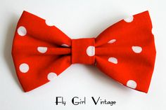 Vintage 1950s Style Hair Clip- Minnie Mouse- Disney Inspired- Fabric Hair Bow- Red And White Polka Dots- For Women-teens-girls-kids- Party. $4.00, via Etsy.