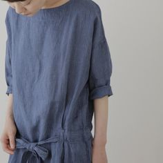 fog linen - cecily dress:  indigo stripe