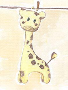 Cuadro bebe jirafa de peluche, pintado a mano con pintura y acuarela, para la habitación o cuarto de los más pequeños de la casa