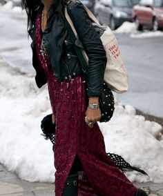 Edgy boho - leather jacket over a sequin maxi plus biker boots. Amazing.
