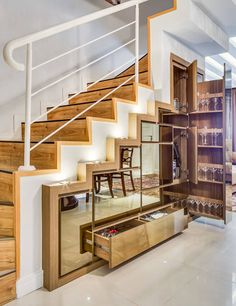 35 Awesome Storage Design Ideas Under Stairs Staircase Storage, Stair Storage, Staircase Design, Basement Storage, Office Storage, Kitchen Under Stairs, Space Under Stairs, Space Saving Ideas For Home, Under Stairs Storage Solutions