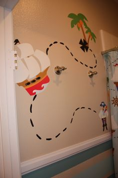 "Whimsical Boys Pirate Bathroom, I wanted a fun pirate theme for my boys' bathroom without being TOO ""pirate-y.""  So, I decided on cheery blue stripes, added the chair rail and added some fun ships and pirates! Arrrrrrgh! , Pirate grouping 1  , Bathrooms Design"