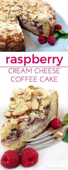 Raspberry Cream Cheese Coffee Cake Raspberry Cream Cheese Coffee Cake: Almond cake, cream cheese filling, raspberry preserves and toasted almond crumb topping. Cream Cheese Coffee Cake, Cream Cheese Filling, Coffee Cream, Cream Cheeses, Baking Recipes, Cake Recipes, Dessert Recipes, Just Desserts, Delicious Desserts