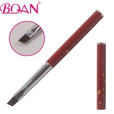BQAN New  8#  Professional  Nail Art UV Gel Brush Pen Red Metal Handle Angled Nail Gel Brush With Cap