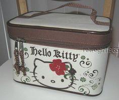 Hello Kitty Make-up Double-Zip Train Case Bag School Sanrio Tan/Red/Brown