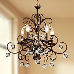 Wrought Iron and Crystal 5-light Chandelier - - Amazon.com
