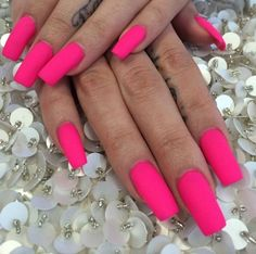 Hot pink nails !!