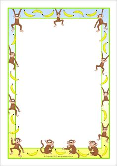 Page Border Featuring Cute Monkeys Hanging From A Green