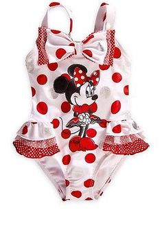 Disney Store Minnie Mouse Swimsuit Size XS White/Red Polka Dot Swimwear - make a deal game Baby Bikini, Baby Girl Swimsuit, Baby Swimwear, Kids Outfits Girls, Toddler Girl Outfits, Toddler Fashion, Kids Fashion, Fashion Hats, Toddler Girls