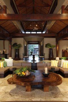 Tropical Great Room with French doors, picture window, can lights, Exposed beam, Columns, Wall sconce, Transom window
