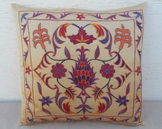 MODERN Hand Embroidered Silk Suzani Pillow Cover by pillowsstore, $43.00