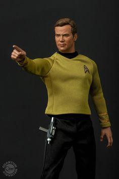 Star Trek TOS Captain Kirk Scale Action Figure : Beam him up, Scotty! This Star Trek The Original Series Captai. Star Trek Figures, Star Trek Toys, Star Trek Spock, Star Trek Voyager, Action Figures, Trekking Quotes, Star Trek Gifts, Star Trek Original Series, Star Trek Beyond