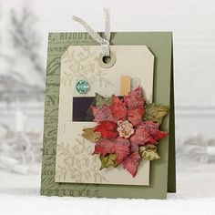 Poinsettia Gift Card Holder by Shari Carroll using The Tim Holtz Poinsettia Die for Simon Says Stamp.  December 2013
