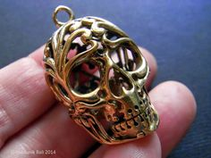 Lacy Brass Skull Pendant 3D by Indounik, a Bali-based Etsy shop. Perfect for fashion jewelry, Halloween, or as a memento mori piece - $16.00