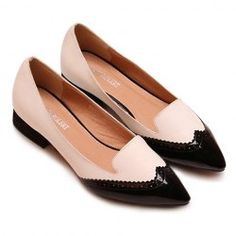 $20.06 Vintage Style Women's Flat Shoes With Color Matching and Point Toe Design