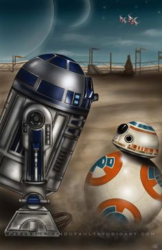 "20x30"" R2D2 & BB-8 Star Wars Episode 7 Artist Signed Art Print"