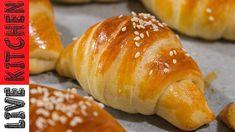 Τα καλύτερα Κρουασανάκια με ζαμπόν και τυρί!! (Χωρίς μίξερ) - Ham & feta cheese Croissants recipe!! - YouTube Greek Recipes, Kitchen Living, Brunch, Bread, Snacks, Breakfast, Food, Croissants, Drink