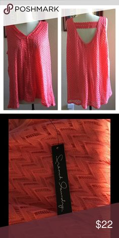 New women's top by French Laundry size 2X See pics.  Coral  is the color of the top. Machine washable, nice lace look top,  nicely lined, cool, comfortable. French laundry Tops