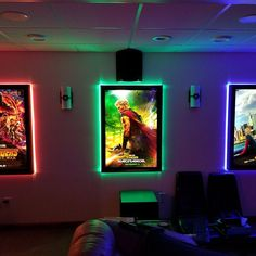 Colored Halo Movie Poster Led Light box Display Frame Cinema Light Up Home Theater Sign. Colored Halo Movie Poster Led Light box Display Frame Cinema Light Up Home Theater Sign. Home Theater Room Design, Movie Theater Rooms, Home Cinema Room, Game Room Design, Movie Rooms, Basement Movie Room, Theatre Rooms, Theater Room Decor, Small Movie Room