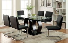 Furniture of America Quezon Glass Top Double Pedestal Dining Table, Black Double Pedestal Dining Table, Glass Top Dining Table, Dining Room Bar, Dining Room Design, Dining Room Furniture, Dining Chairs, Black Furniture, Side Chairs, Dining Area