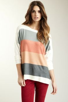 Go Couture Multi-Rays Colorblock Oversized Dolman Sweater by Non Specific on @HauteLook