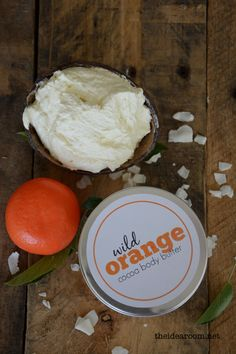 Wild Orange Body Butter Recipe 1 cup shaved Cocoa Butter 1 to 2 TBSP of Almond Oil (Coconut Oil) 8 drops of Vitamin E oil (optional) 8 drops of Wild Orange doTerra Essential Oil