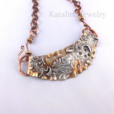 """""""molten lava"""" (flooding a piece with solder and then stamping it while hot to add texture). Katalina Jewelry"""