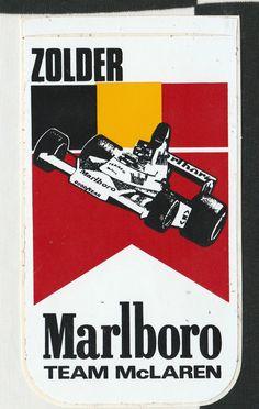 ORIGINAL MARLBORO TEAM McLAREN ZOLDER GP 1976 JAMES HUNT F1 PERIOD RACE STICKER