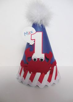 Lil' Red, White and Blue Nautical Crab Birthday Party Hat - Personalized Birthday Party Hats, Diy Birthday, Birthday Ideas, Under The Sea Theme, Mickey Party, First Birthdays, Red And White, Nautical, Handmade Gifts