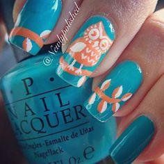 Instagram photo by newlypolished  #nail #nails #nailart. Owl nail art