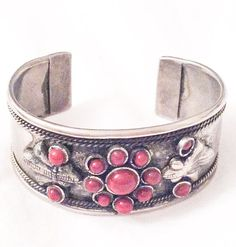 NEW YEAR Sale Coral  Silver Bangle Cuff Bracelet  by OurBoudoir