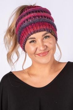 2c89c2a0403 CC multi color messy bun beanie burgundy mix