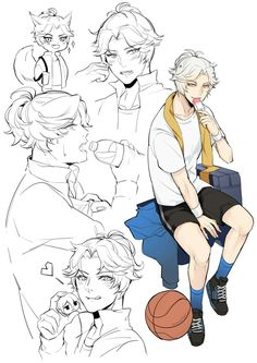 male character reference hair head hand pose