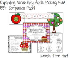 Speech Time Fun: Expanding Vocabulary Apple Picking Fun!! ((EET Companion Pack!!)) Pinned by SOS Inc. Resources. Follow all our boards at pinterest.com/sostherapy for therapy resources.