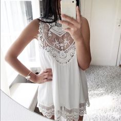 white dress Never worn & new condition. This isn't lined so a slip is necessary underneath! Dresses Mini