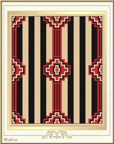 Love this design maybe withore subtle colors for the stripes native american pattern Native American Blanket, Native American Patterns, Native American Design, Native American Crafts, Native American Fashion, Bead Loom Patterns, Beading Patterns, Quilt Patterns, Crochet Patterns