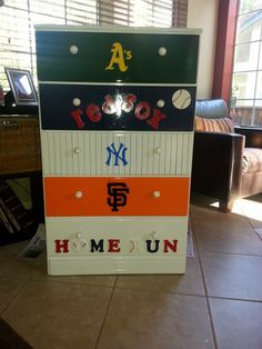 Baseball themed dresser I painted from old wood dresser