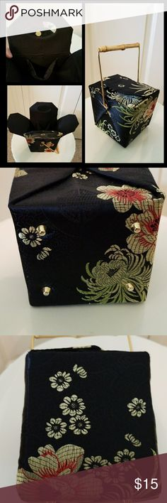 "Chinese takeout purse Black silk with chinese motif and bamboo handle. Has mirror and pocket inside. Gold accents and feet on bottom. Folds up like a to go box. Measures 5"" across x 4"" across and 8.5"" tall including handle. So cute and unusual! unknown Bags Mini Bags"