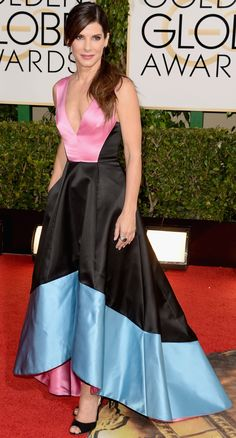 Sandra Bullock is colorblocking in a gorgeous dress by Prabal Gurung.