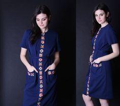 Vintage Embroidered Dress  Folk Dress  1960s Dress  by aiseirigh, $92.00